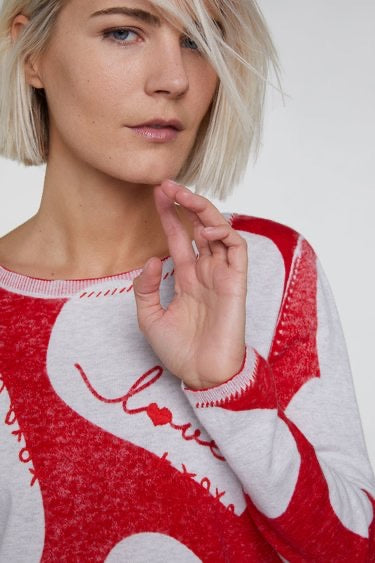 Fine Knit Jumper with Hearts