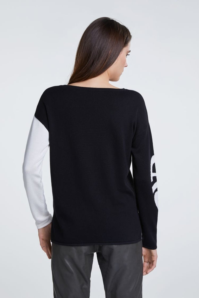 Black and Ivory Cotton Sweater