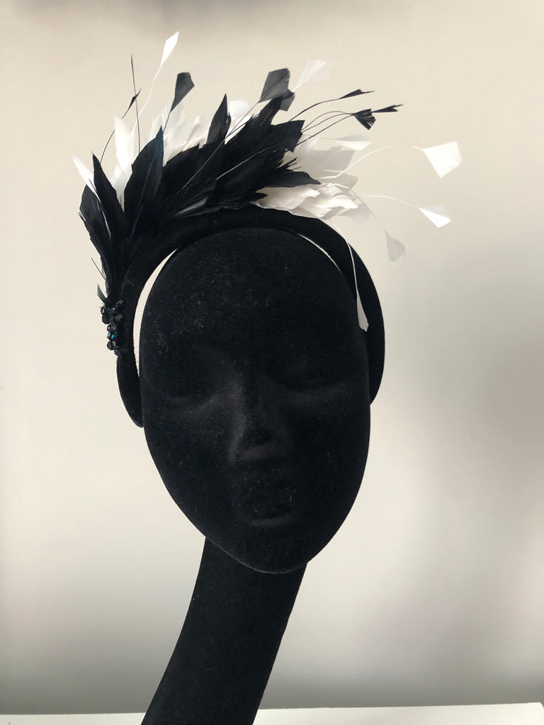 Blair Headpiece in Black and Ivory