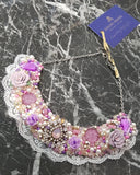 Small Collar - Lilac Pink & Pearl with White Lace