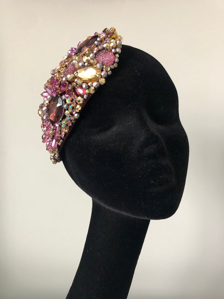 Teardrop in Plum Gold and Silver Crystals