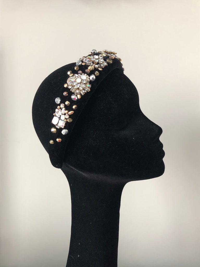 Coco Headpiece Embellished in Gold Silver and AB Crystals