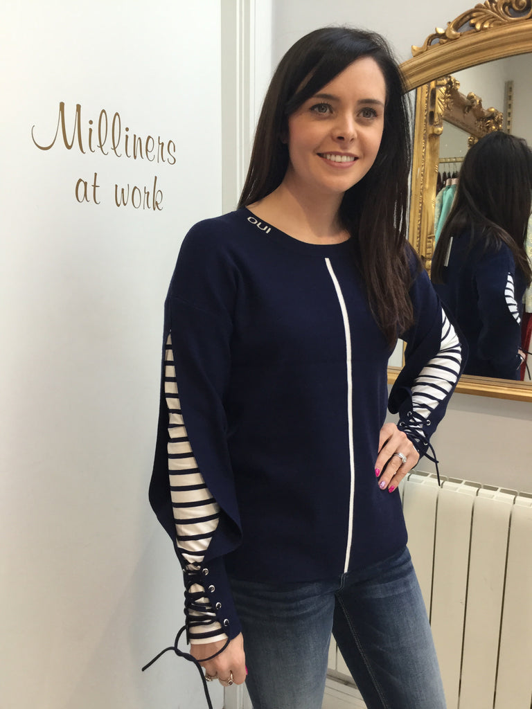 Navy Sweater with Stipe Insert on Sleeve