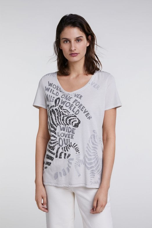 Beige Vneck T-shirt with Zebra Embellishment