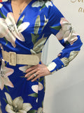 Blue Floral Satin Feel Wrap Belted Dress