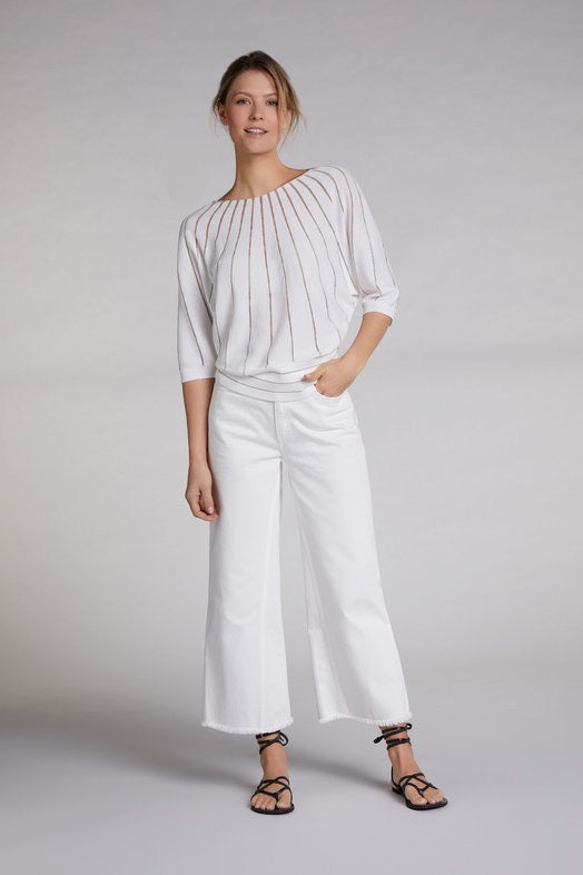 Ivory Sweater with Lurex Stripes