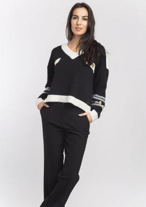 Black and Ivory V Neck Sweater with Gold Button Details