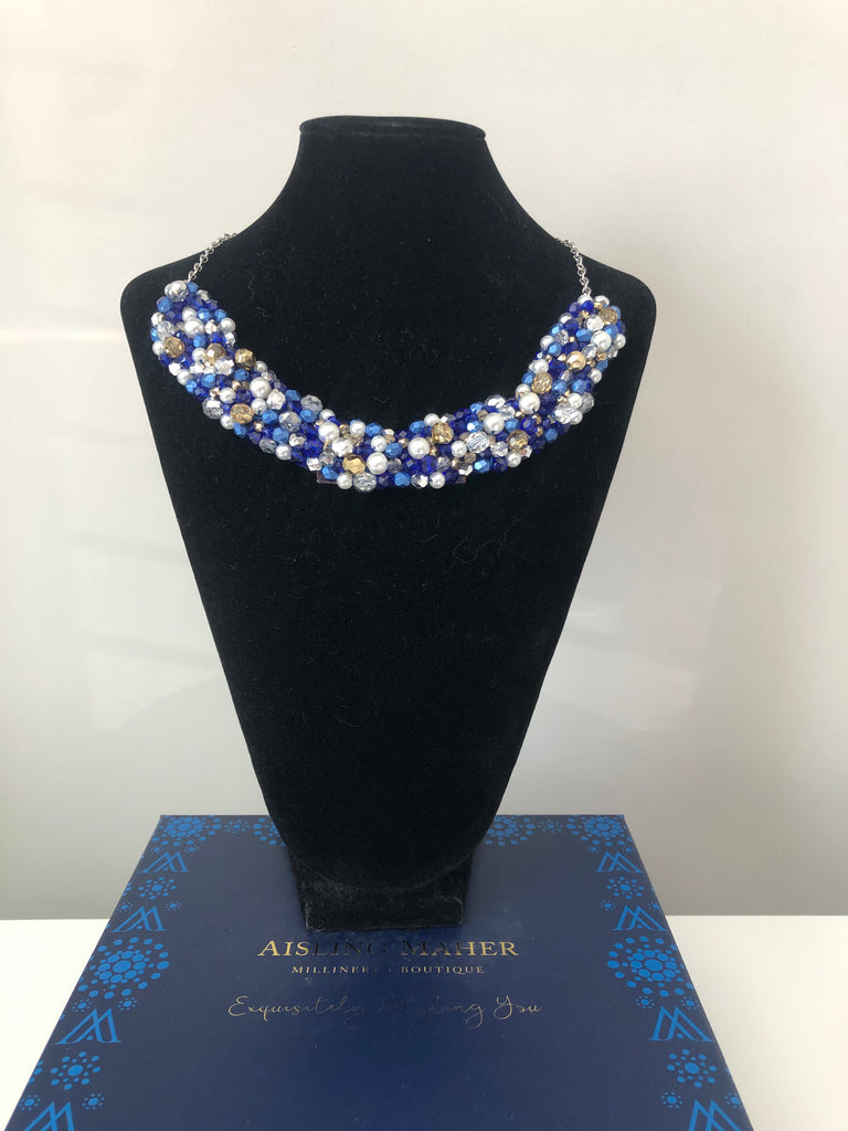Beaded Neckpiece in Navy Blue Silver and Gold