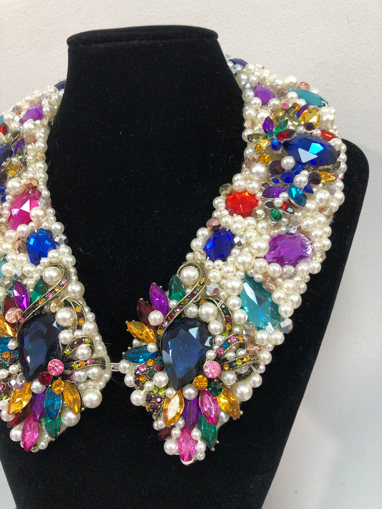 Large Collar - Pearl and Multicoloured Crystals