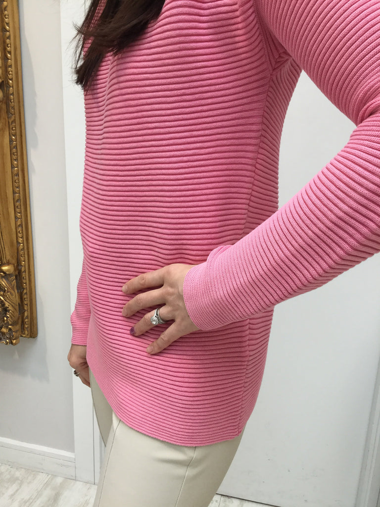 Ribbed Pullover with Slashed Neckline
