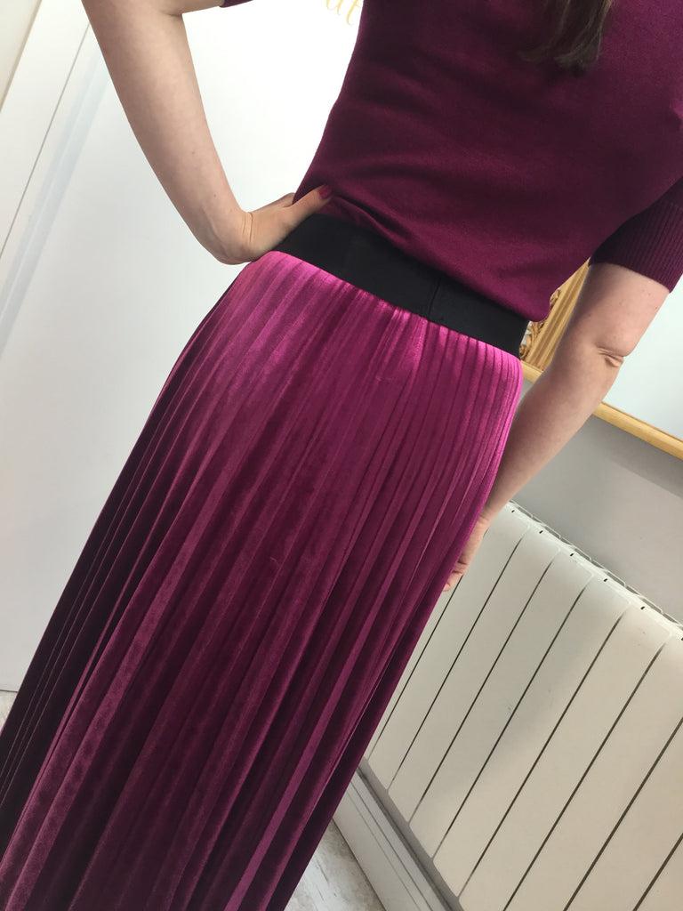 Pleated Velour Midi Skirt