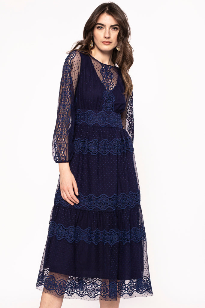 Navy Lace Tiered Dress
