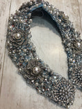 Large Collar - Babyblue Pearl & Silver