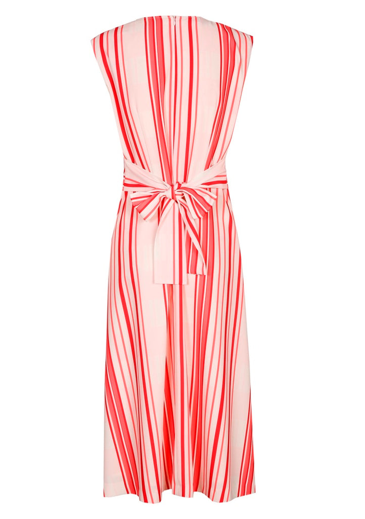 Red and Pink Striped Dress with Tie