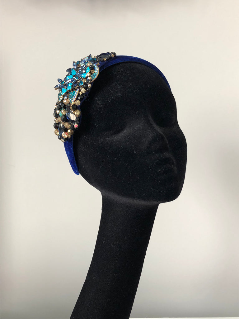 Plumeria Headpiece in Turquoise Gold Navy Crystals on a Royal Velvet Headband