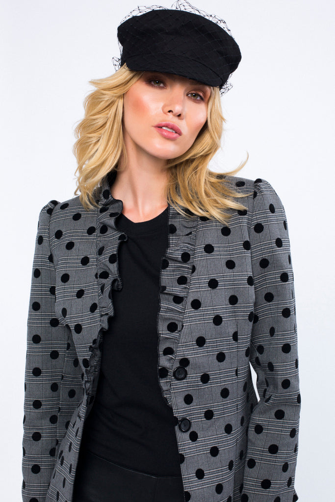 Polka Dot Blazer with Frill