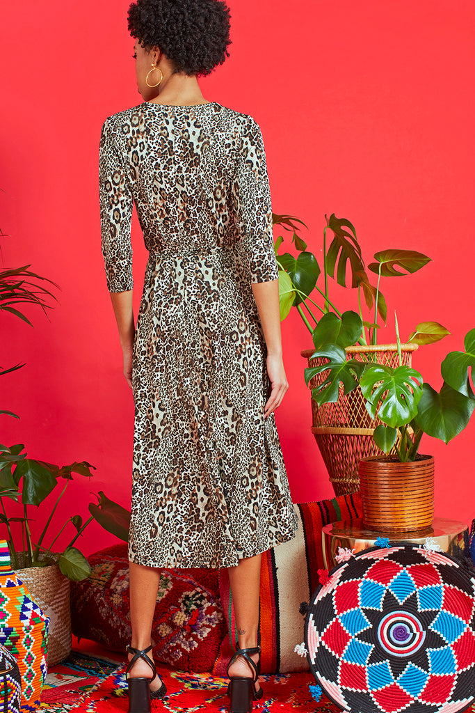 Amy Dress in Leo Sky Brown