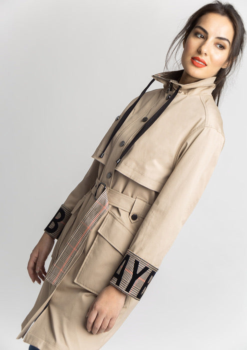 Beige Coat with Printed Cuffs