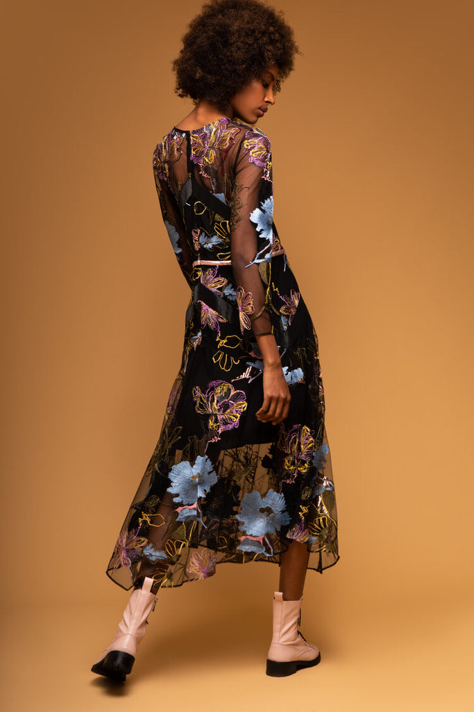Simona Dress in Black with Blue Flowers