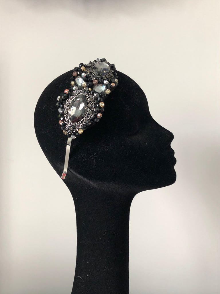 Plumeria Headpiece in  Black Pewter Gold and Rosegold Crystals