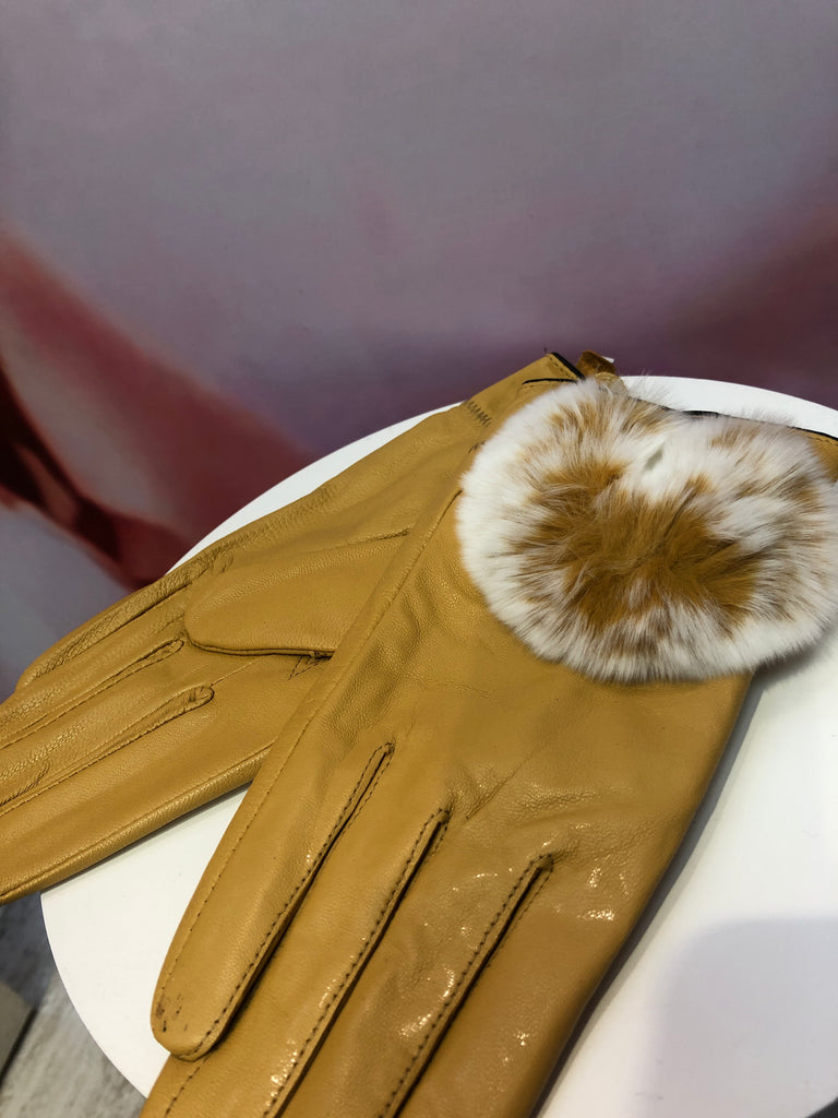 Mustard Leather Gloves with Fur Lining