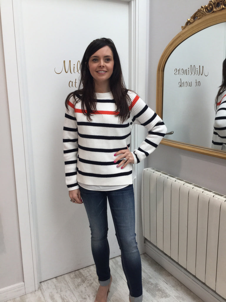 Navy and Ivory Striped Sweater with Orange Stripe