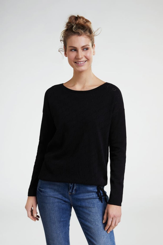 Cotton Sweater with Perforated Print