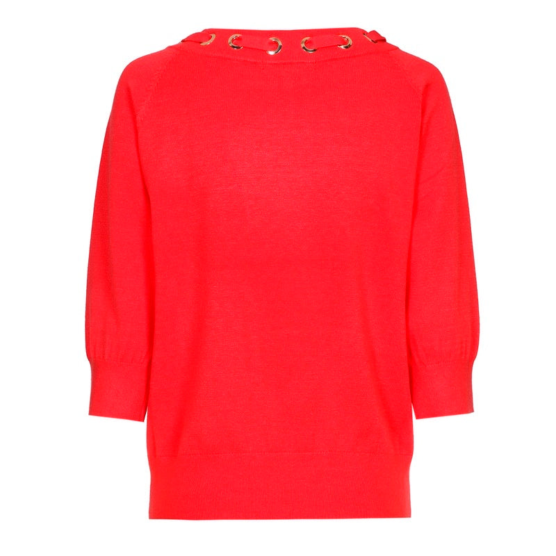 Red Sweater with Cropped Sleeves