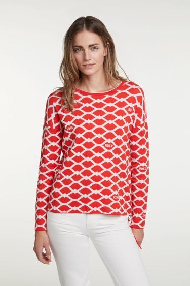 Lip Jacquard Jumper with Side Zip