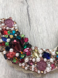 Small Collar - Pearl, Plum Pink and Multicoloured Crystals