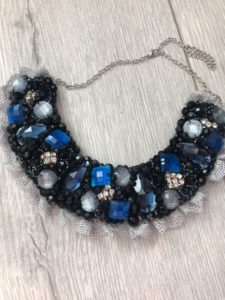 Small Collar - Black Navy & Silver
