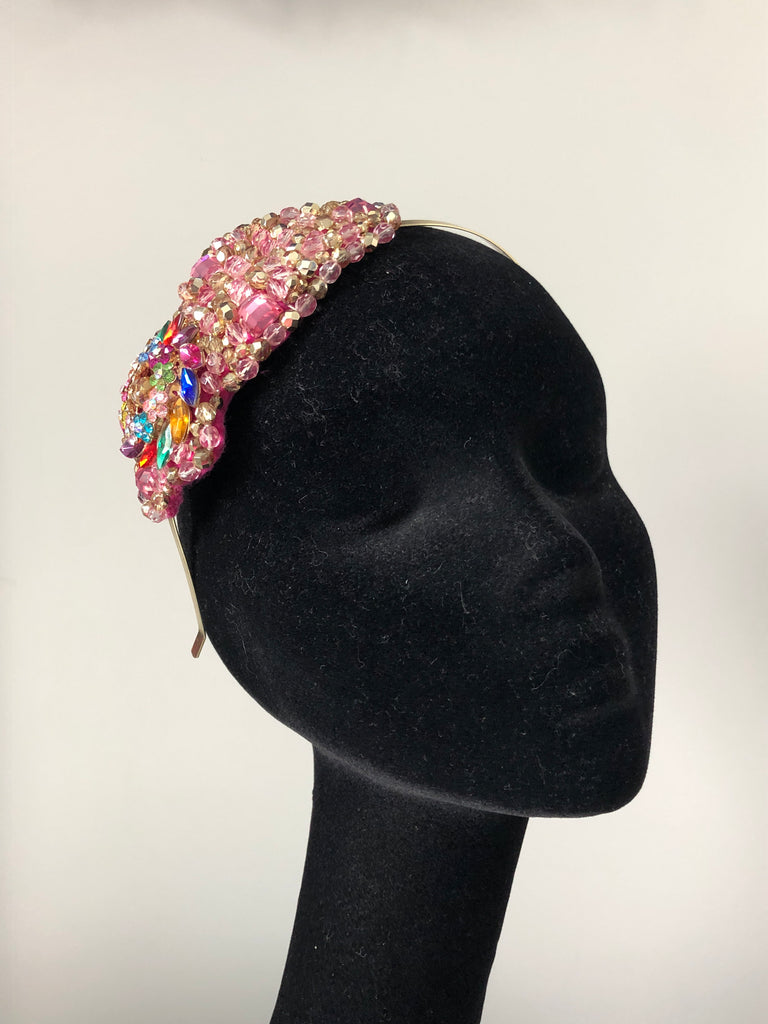 Plumeria Headpiece in Pink Gold and Multicoloured Crystals and