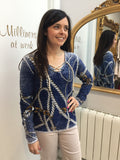 Sweater with Rope and Chain Print