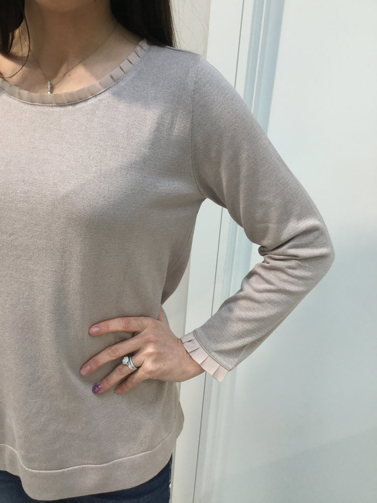 Taupe Pleated Neck Jumper