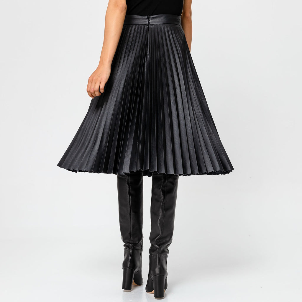 Pleated Leatherette Midi Skirt