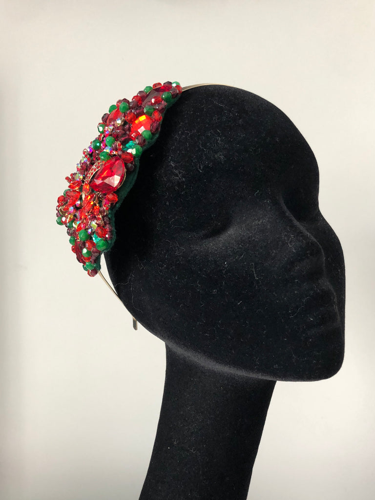 Plumeria Headpiece in Red Gold and Green Crystals