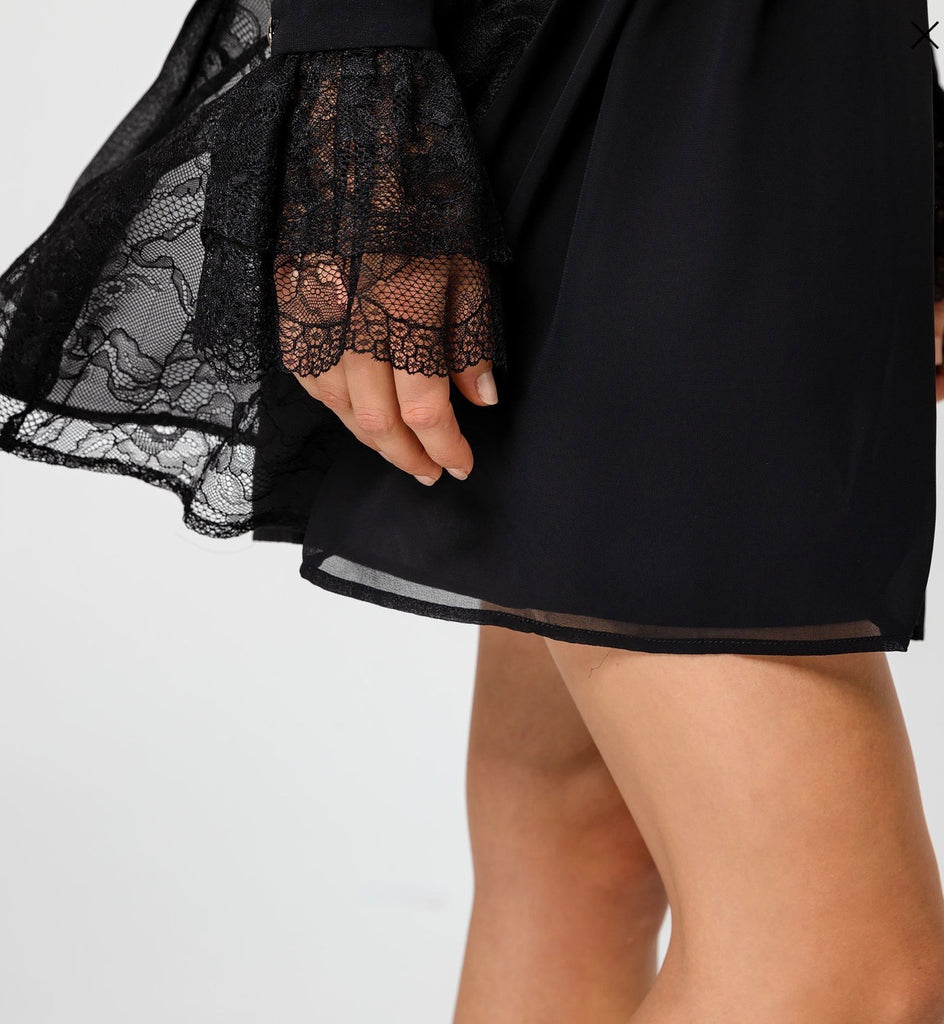 Lace and Pleat Dress with Belt