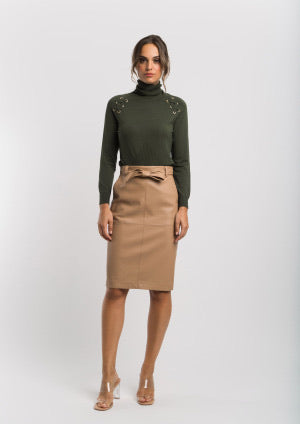 Khaki Fine Knit Polo with Gold Detail on the Shoulders