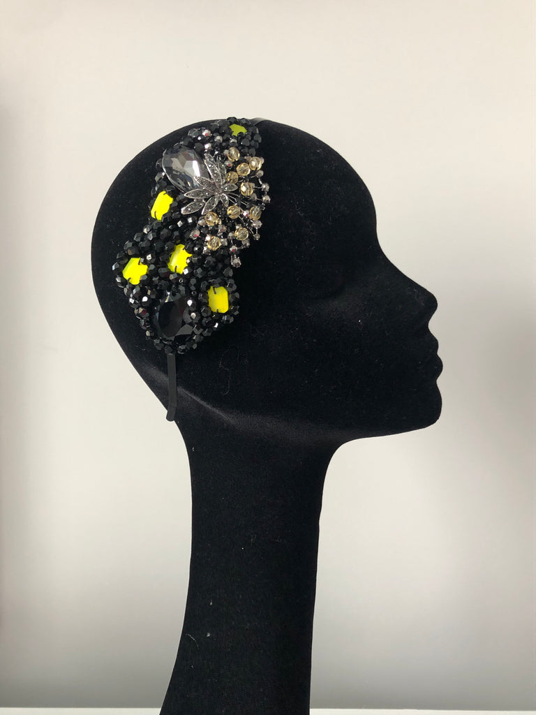Plumeria Headpiece in Black Pewter with an Accent of Yellow Crystals