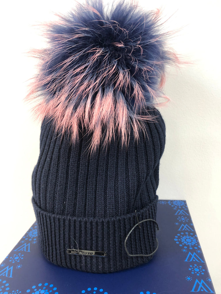 Navy Merino Hat with Navy and Pink Pom Pom