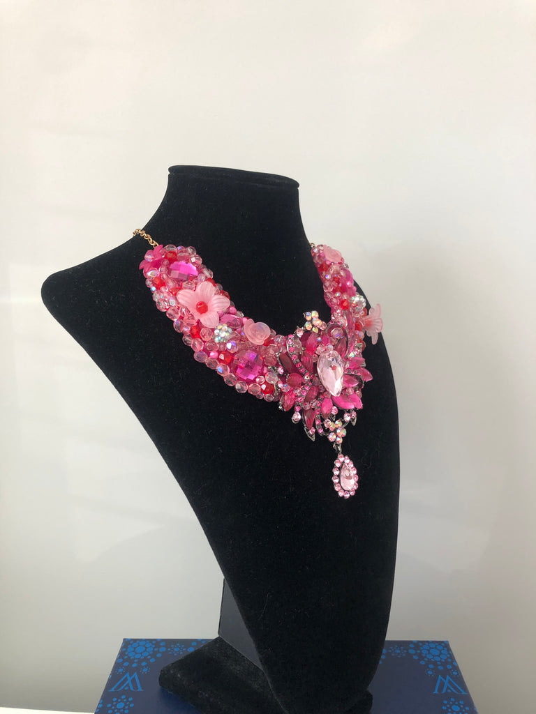 V Collar in Pink Hot Pink and Red Crystals