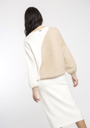 Beige and Cream Roundneck Sweater with Lurex Detail