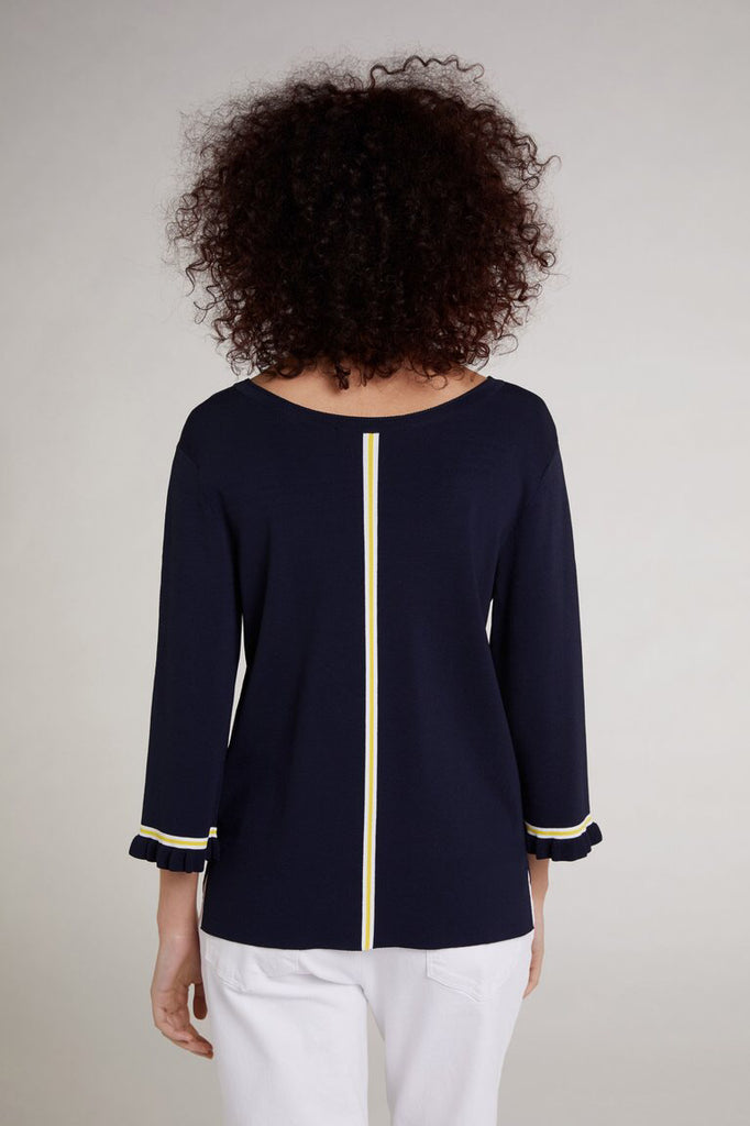 Navy Sweater with Yellow Stripe