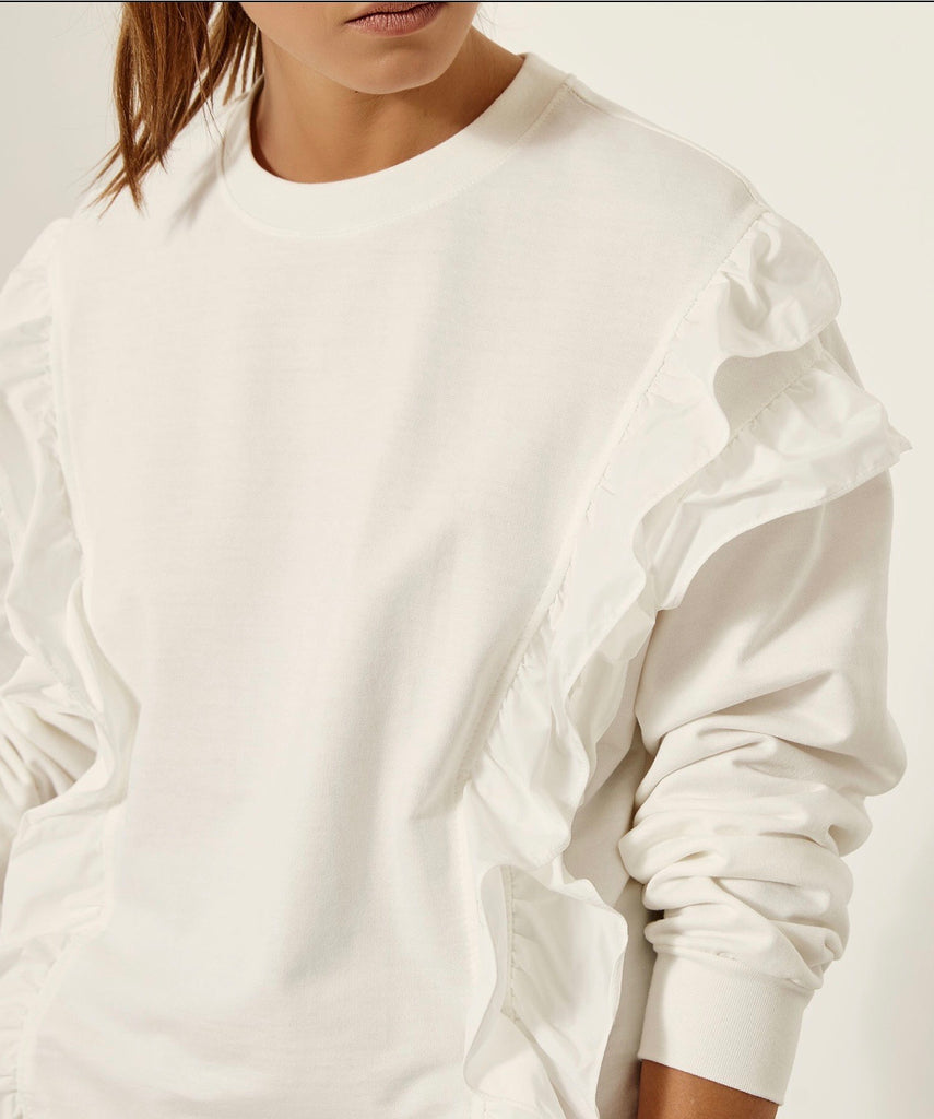 White Sweatshirt with Ruffles