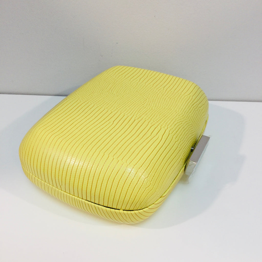 Paloma Lemon Reptile Embossed Clutch