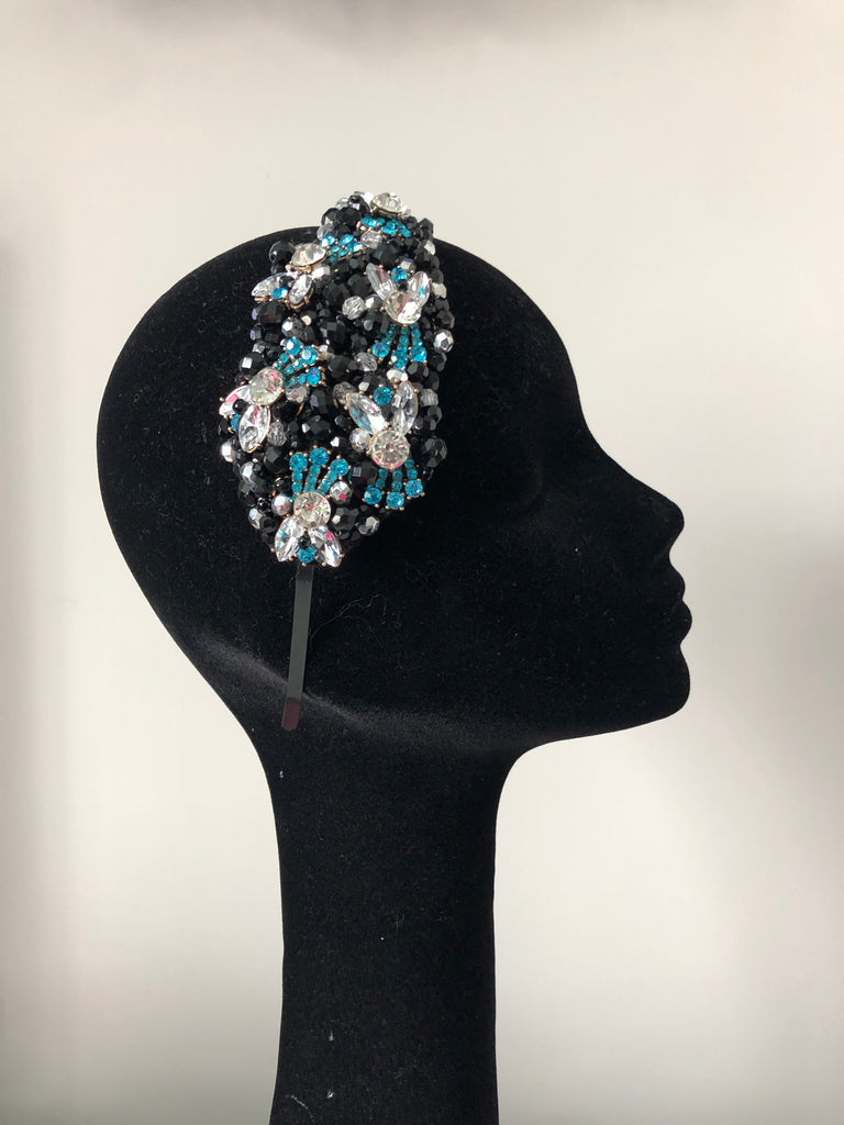 Plumeria Headpiece in Black, Turquoise and  Silver Crystals