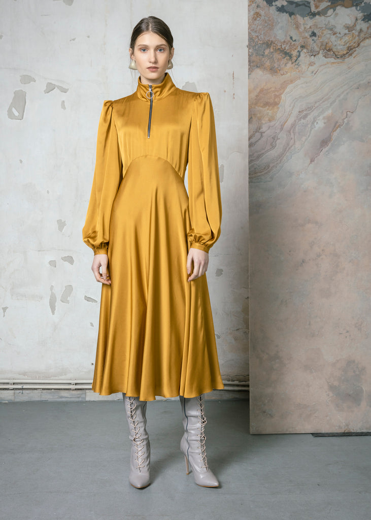 Mustard Empire Line Dress with Balloon Sleeves