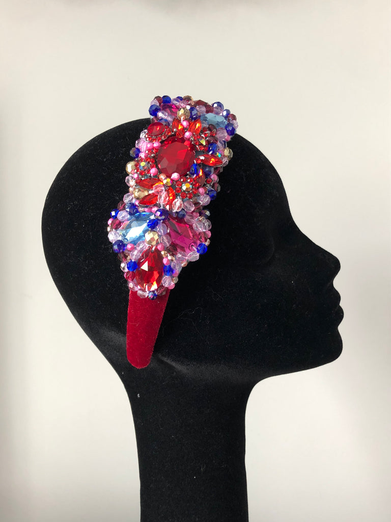 Large Plumeria Headpiece in Red, Pink, Turquoise, Blue and Gold on Red Velvet Band