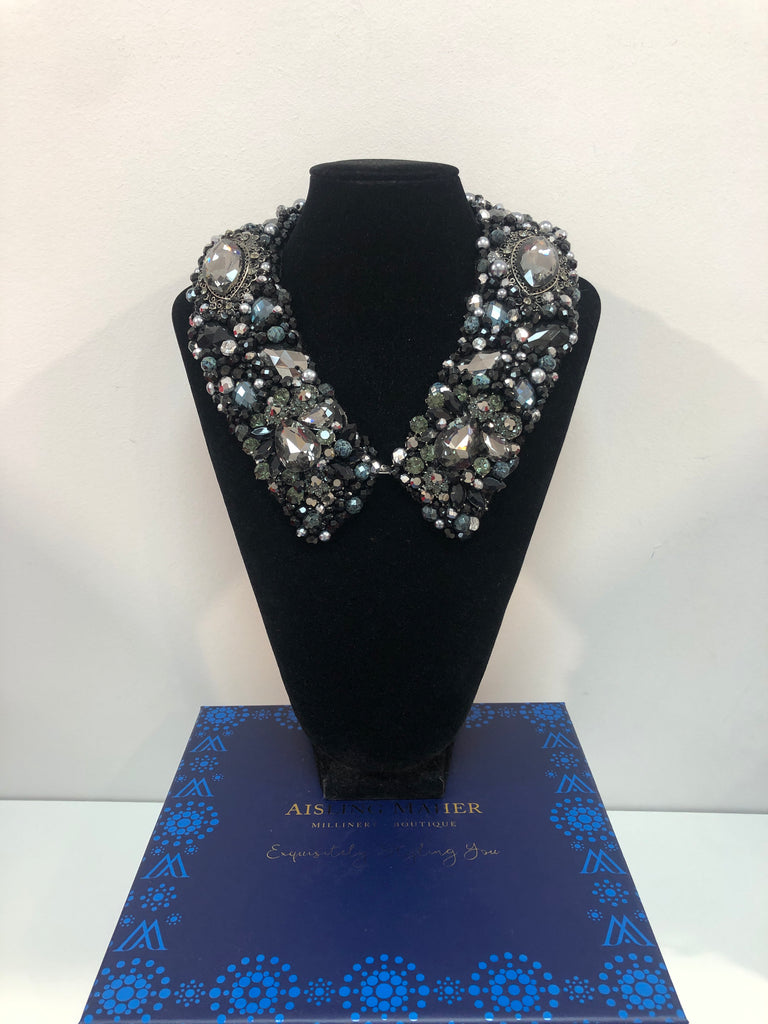 Large Collar - Black & Silver Marble