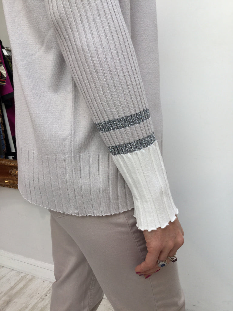 Beige Cardigan with Pleated him and cream trim